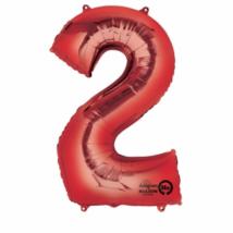 2-es piros szám fólia lufi 33 x 86 cm, csomagolt / 07-2827701