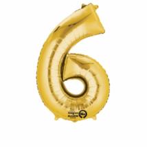 6-os arany szám fólia lufi 20 x 35 cm / 07-3308701